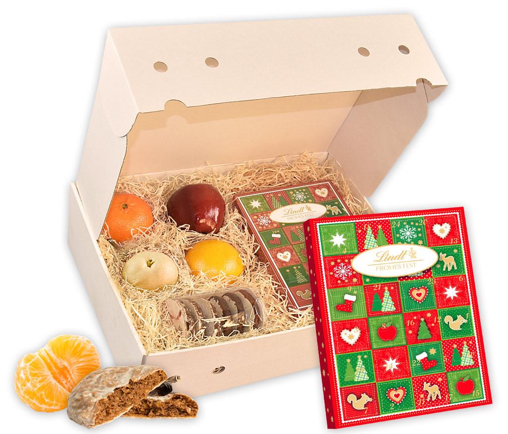 Obstbox mit Adventskalender, knackigen Nüssen und frischem Obst
