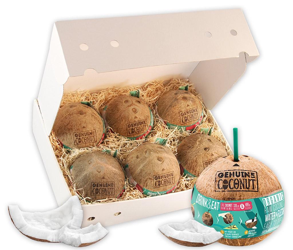Geschenkbox Kokosnuss Drink & Eat mit BIO Trinkkokosnüssen und praktischem Kokosnussöffner