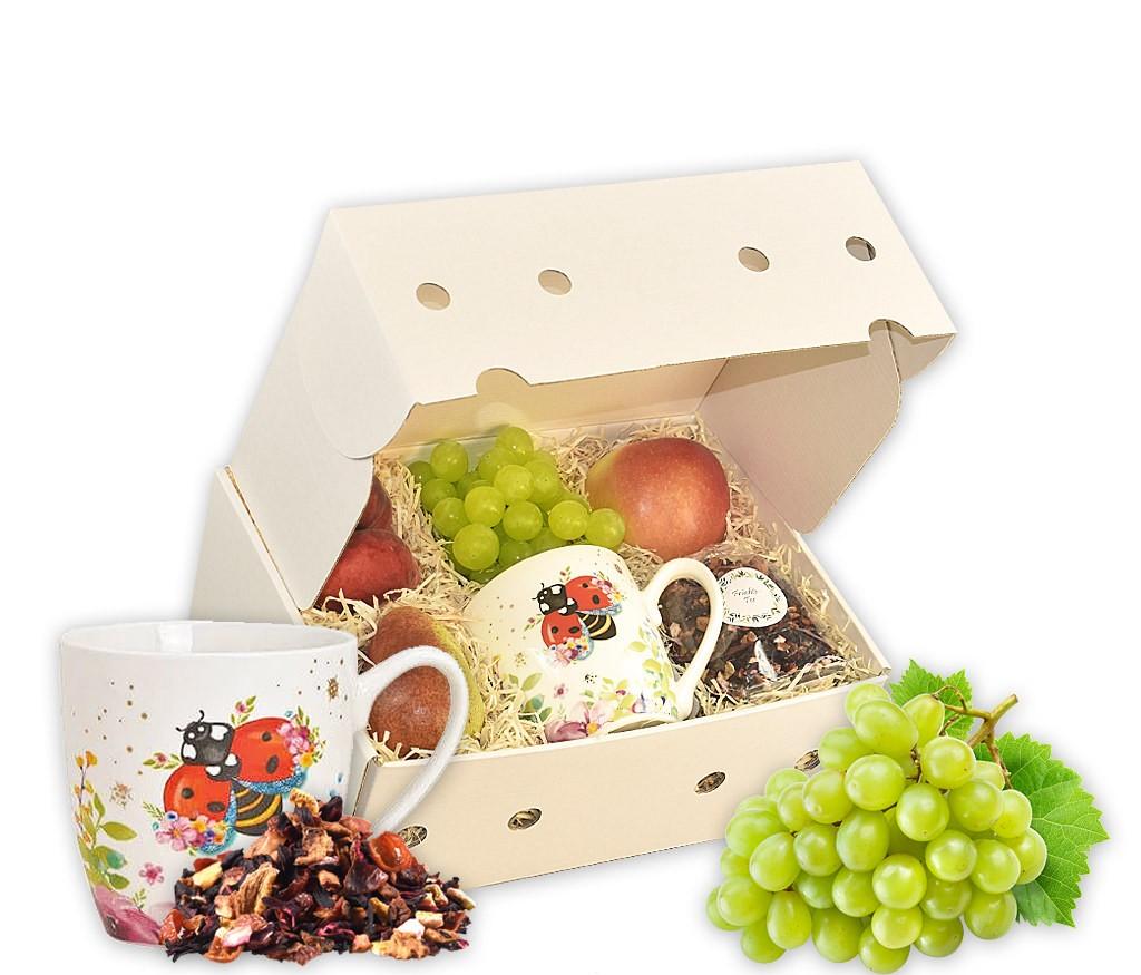 Obstbox Lustiges Lama mit Lamamotiv-Tasse und leckeren vitaminreichen Früchten als schönes Geschenk