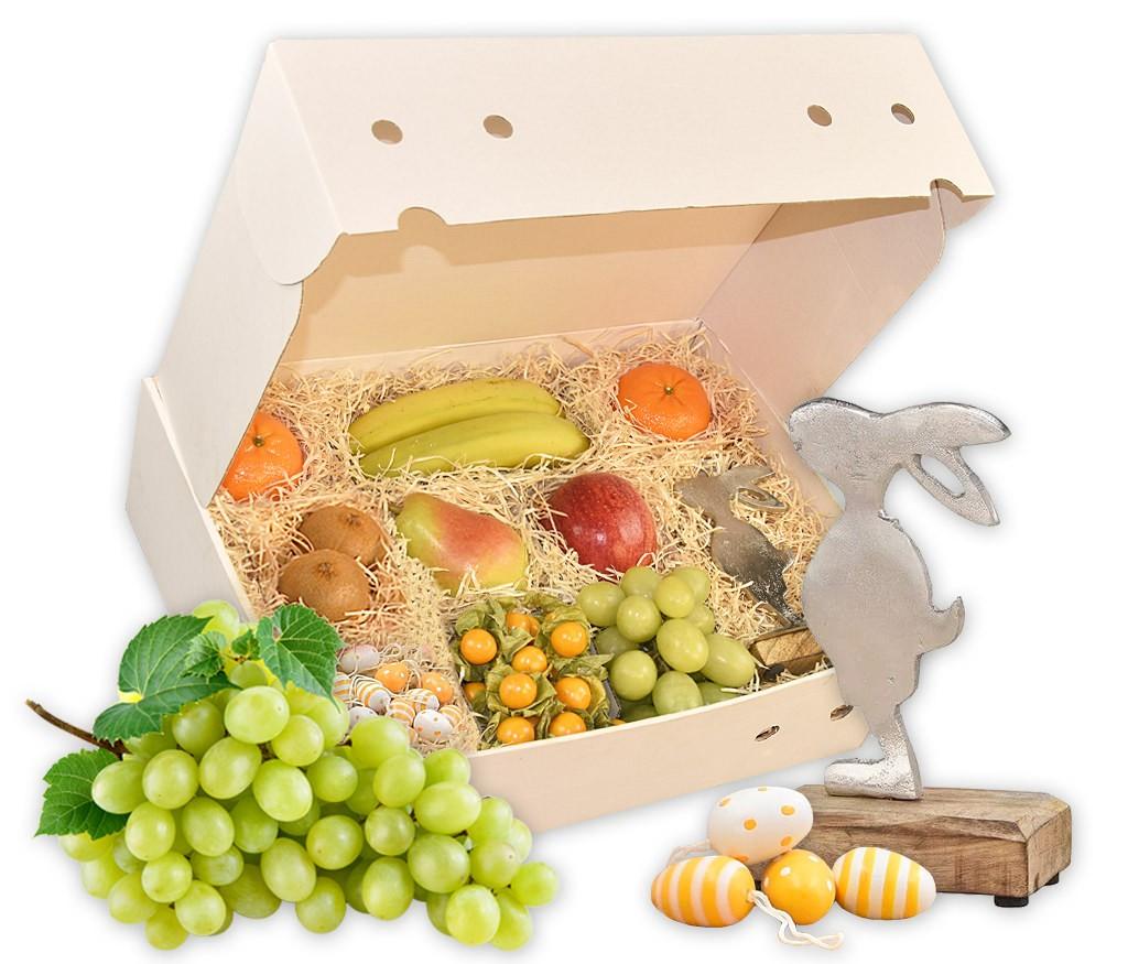 Obstbox Osterüberraschung mit Metallhasen, Nougateiern und frischem Obst