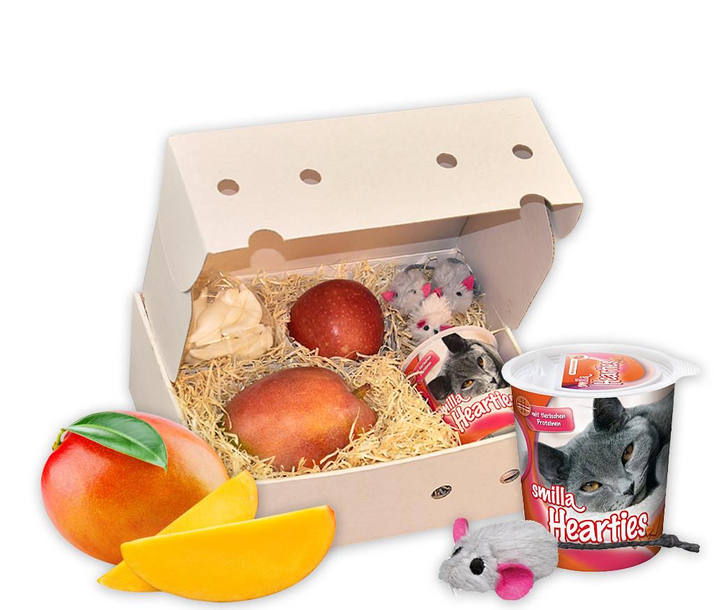 Geschenkbox Alles für die Katz mit Katzenleckerlie, Katzenspielzeug und frischem Obst
