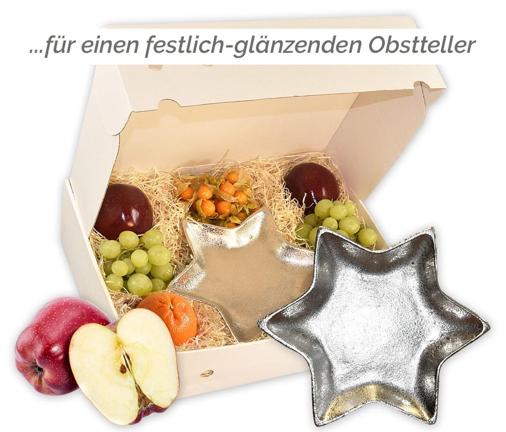 Obstbox Silberstern mit viel frischem Obst und einem dekorativem Sternenteller aus Aluminium