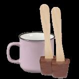 Tasse (hell-lila) und 2x Schokoladenlöffel