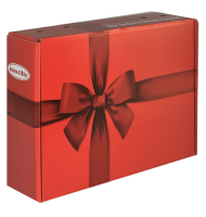 "Verpackungsdesign: ""Die Purpurrote"" (rote Box mit dunkelroter Schleife)"