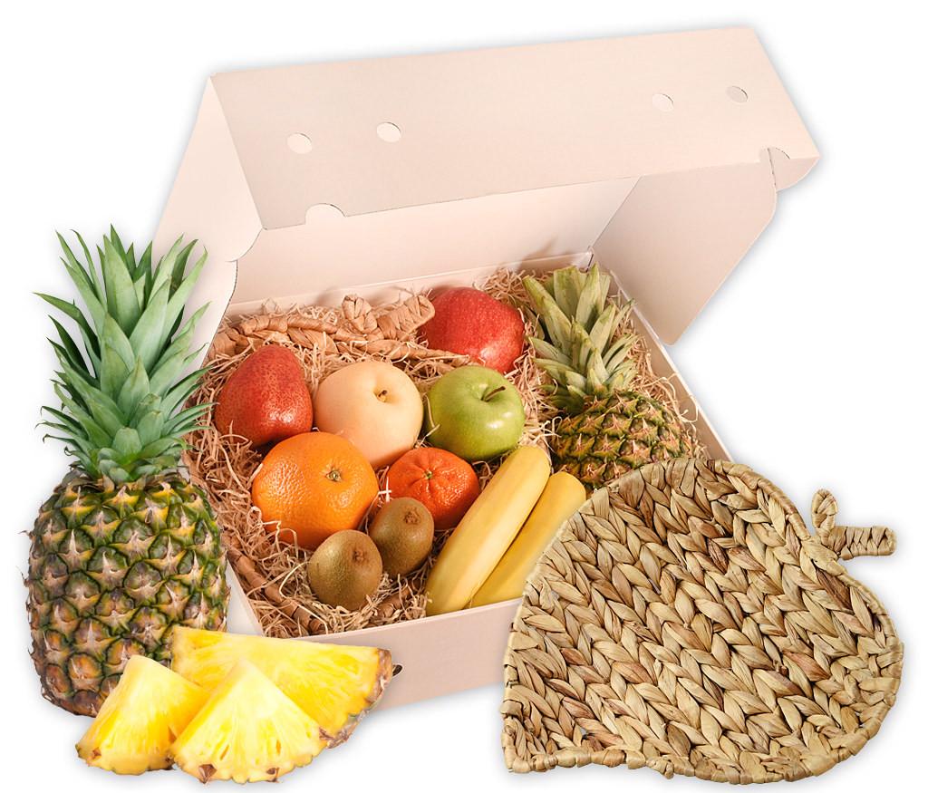 Obstkorb Blatt als ideales Geschenk mit frischen Früchten und einer formschönen Obstschale aus Wasserhyazinthe