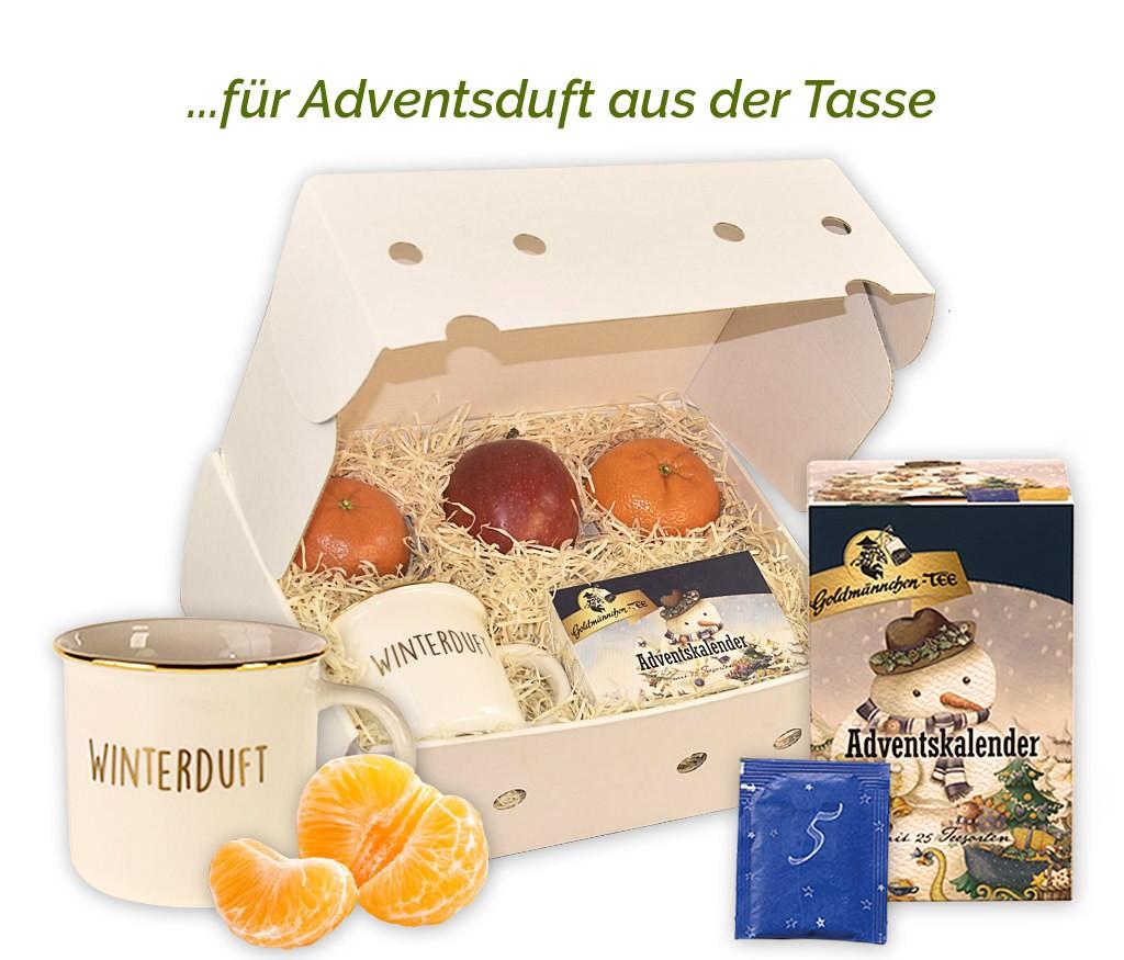 Obstbox mit Tee-Adventskalender, Keramik-Tasse und frischem Obst