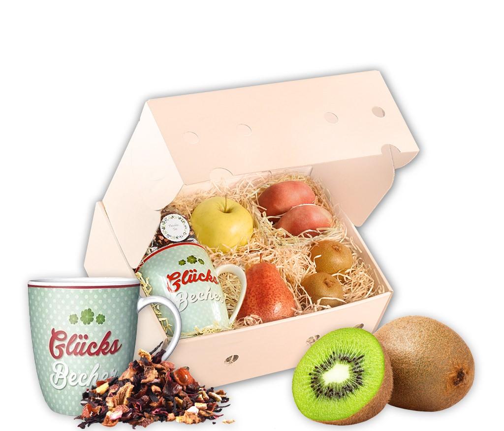 Obstbox Glücksbecher mit frischem Obst, einer Tasse, Schokolade und aromatischem Rooibostee in einer Geschenkbox