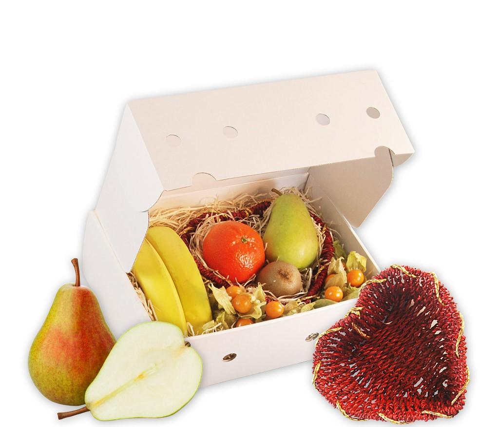 """Obstbox """"Ich schenk dir mein Herz"""" mit rotem Obstkorb in Herzform und vielen leckeren Früchten"""