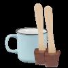 Tasse (hellblau) und 2x Schokoladenlöffel