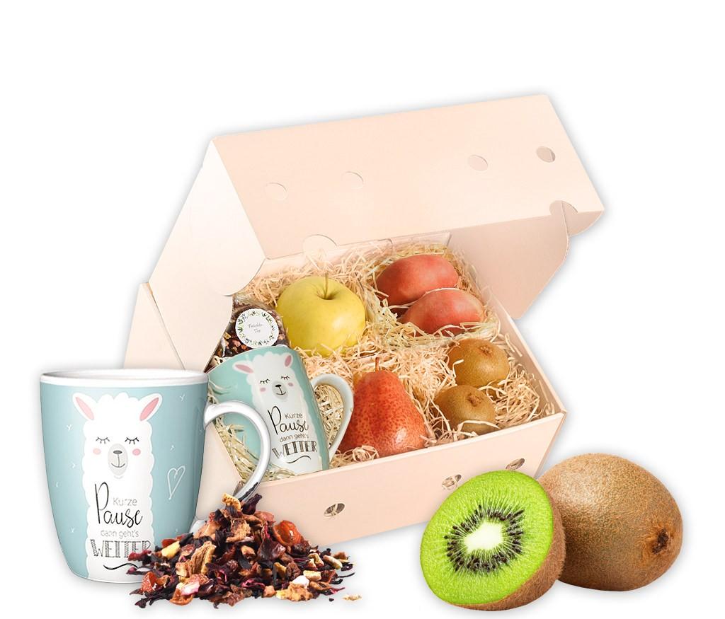 Obstbox Zeit für eine Pause mit frischem Obst, einer Tasse, Schokolade und aromatischem Rooibostee in einer Geschenkbox