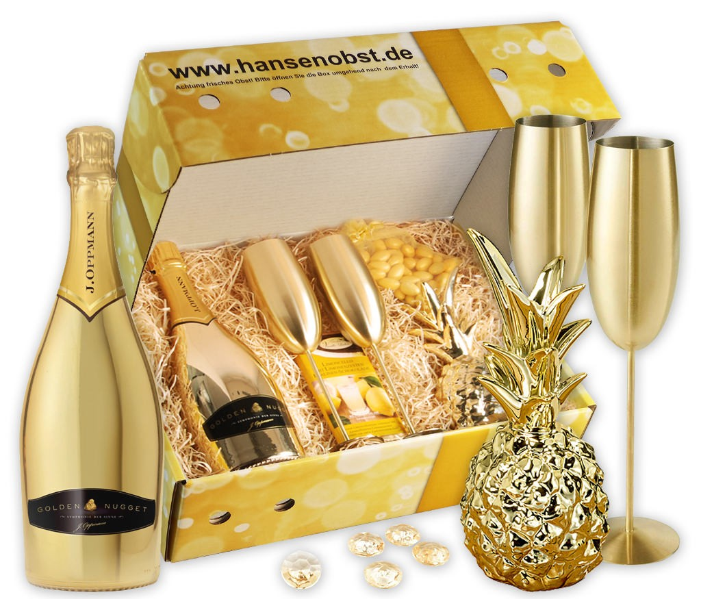 Geschenkbox Goldrausch mit goldenem Sekt, Edelstahl Sektgläsern, goldener Dekoananas, Deko-Diamanten und Schokolade