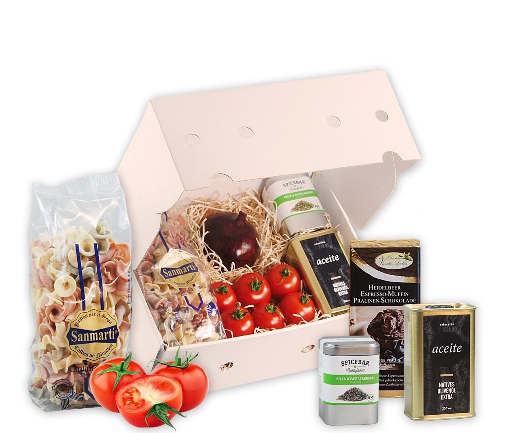 Kochbox italienische Nudeln mit handgemachter Pasta, frischen Tomaten und Zwiebel, Olivenöl, BIO Pasta-Gewürz und Pralinen-Schokolade