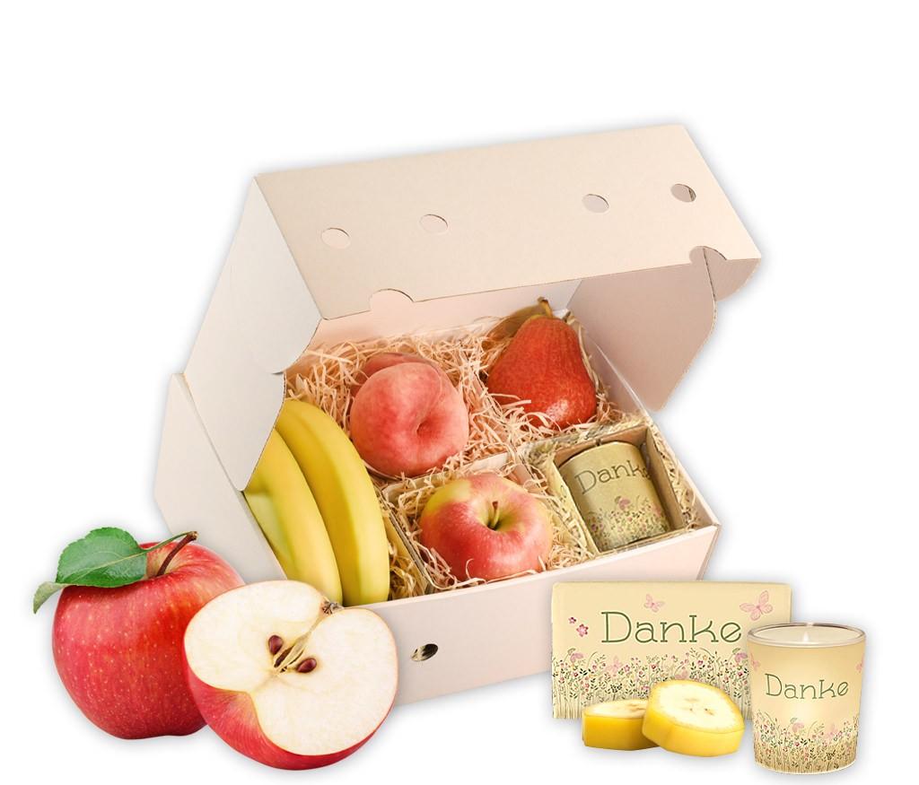 Geschenkbox Danke mit frischem Obst, Teehaus, Windlicht, Schokolade und Gummibärchen