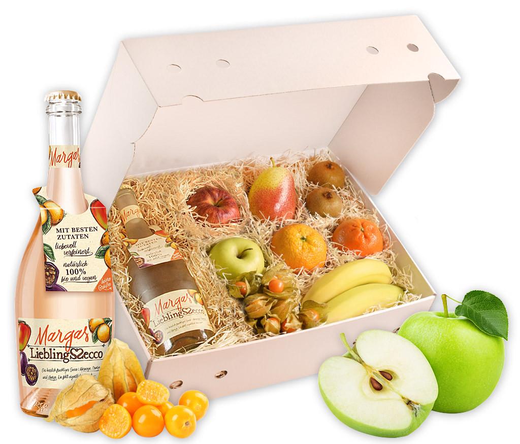 Obstbox Herbstrprickeln mit fruchtigem Secco und vielen vitaminreichen Früchten für dem Herbst