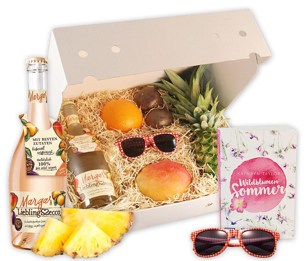 Obstbox Wildblumensommer, frische Früchte und Leselektüre für den Sommer