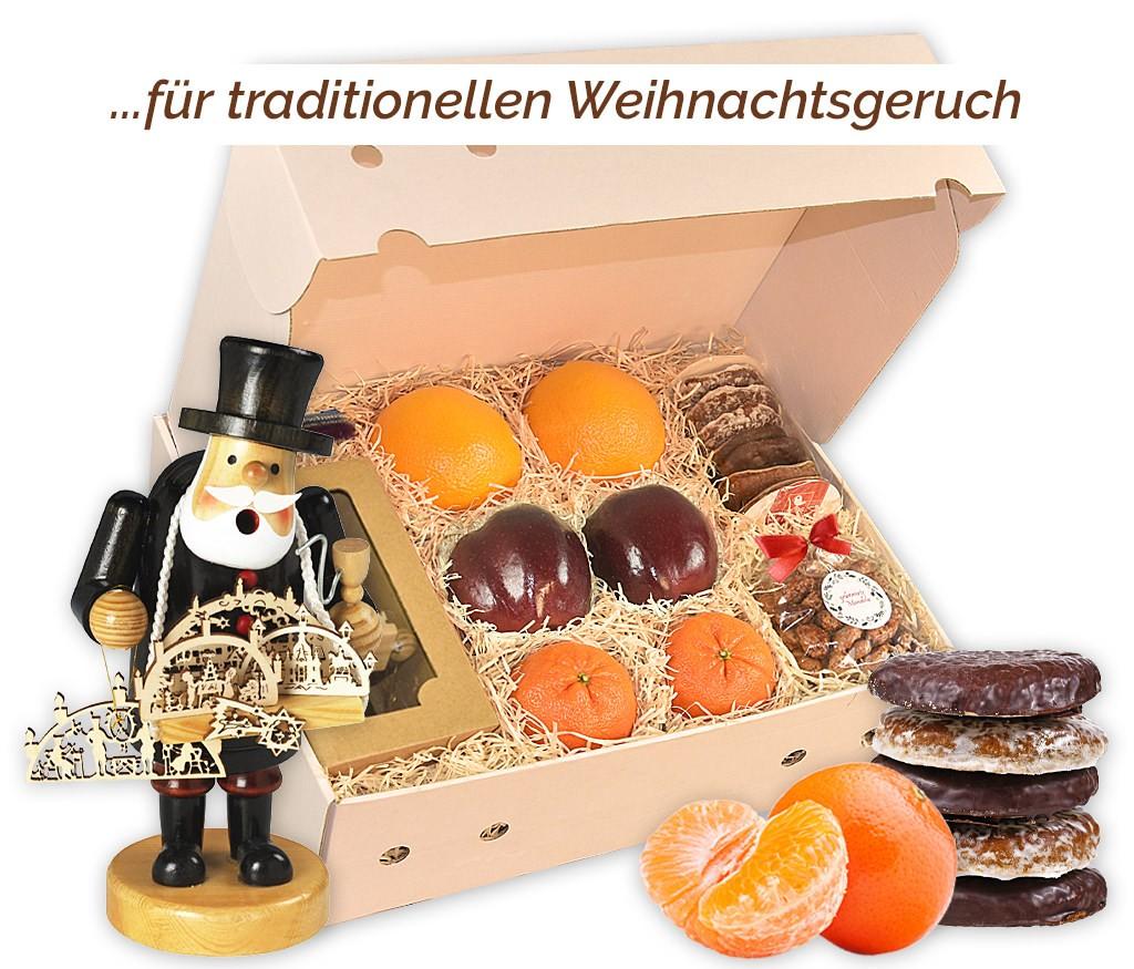 Obstbox Räuchermännchen mit frischen Früchten, Lebkuchen, gebrannten Mandeln, Holz-Räuchermännchen und Räucherkerzen