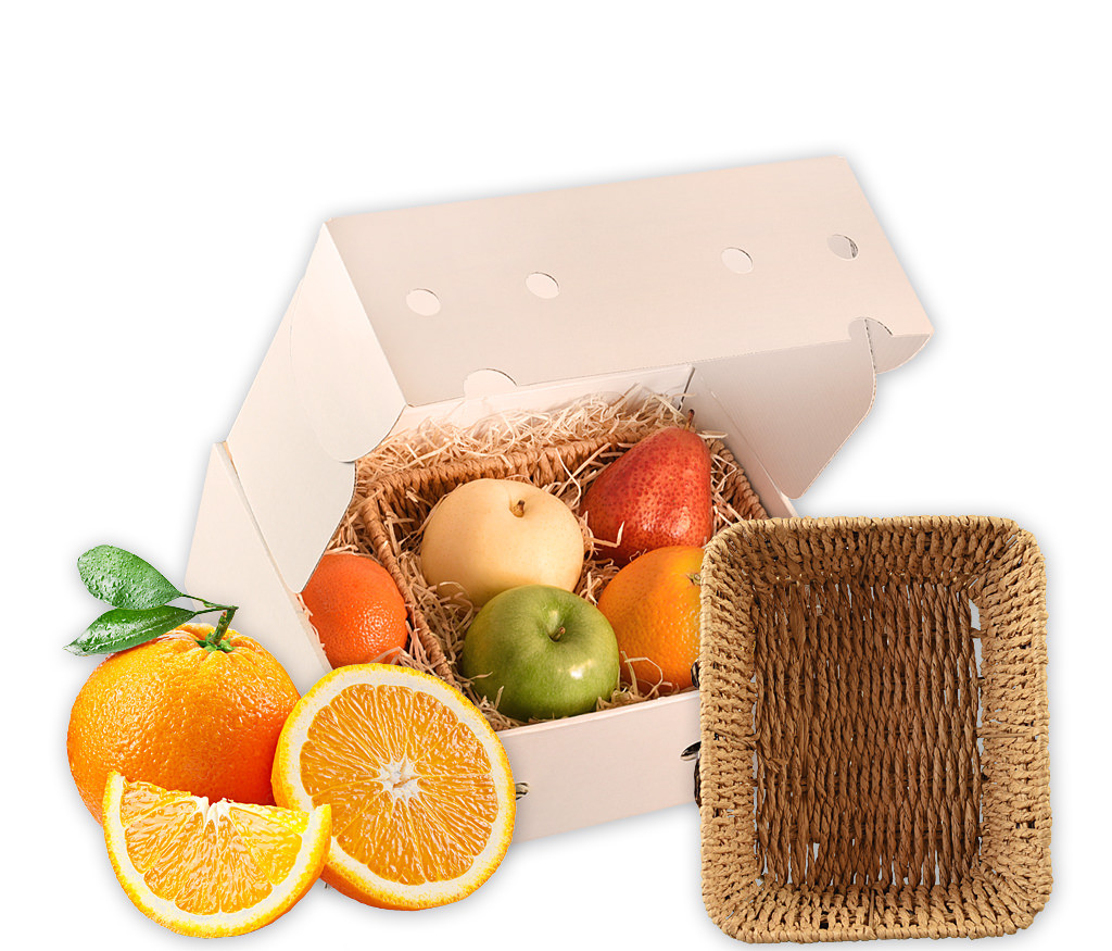 Obstkorb eckig mit Schleife als ideales Geschenk mit frischen Früchten und einem eckigen Obstkorb mit Schleife