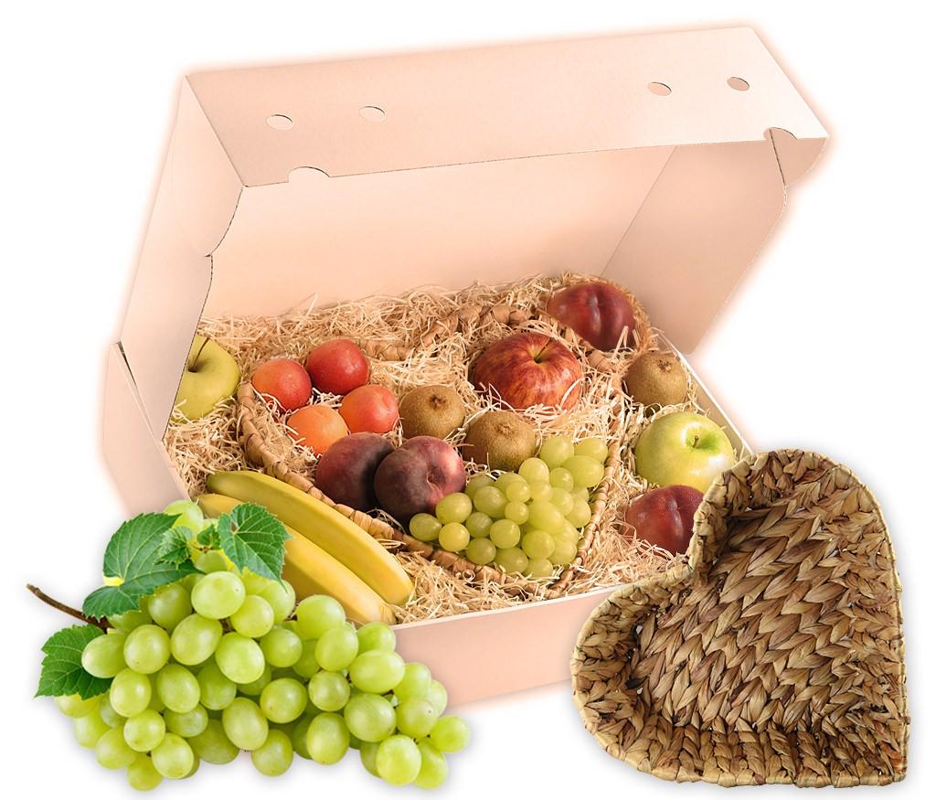 Obstkorb Herz als tolles Geschenk mit leckerem Obst und einem Wasserhyazinthen-Korb in Herzform