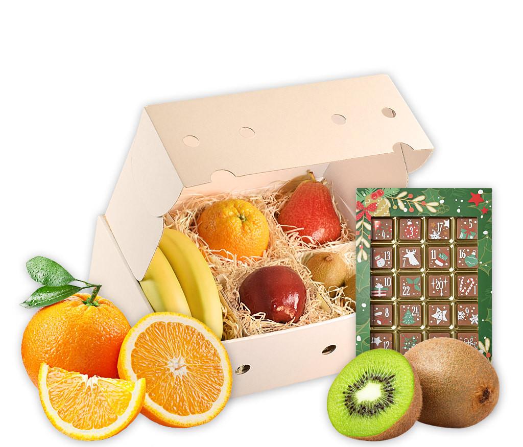 Obstbox mit Adventskalender mit Adventskalender-Schokoladen-Tafel und frischem Obst