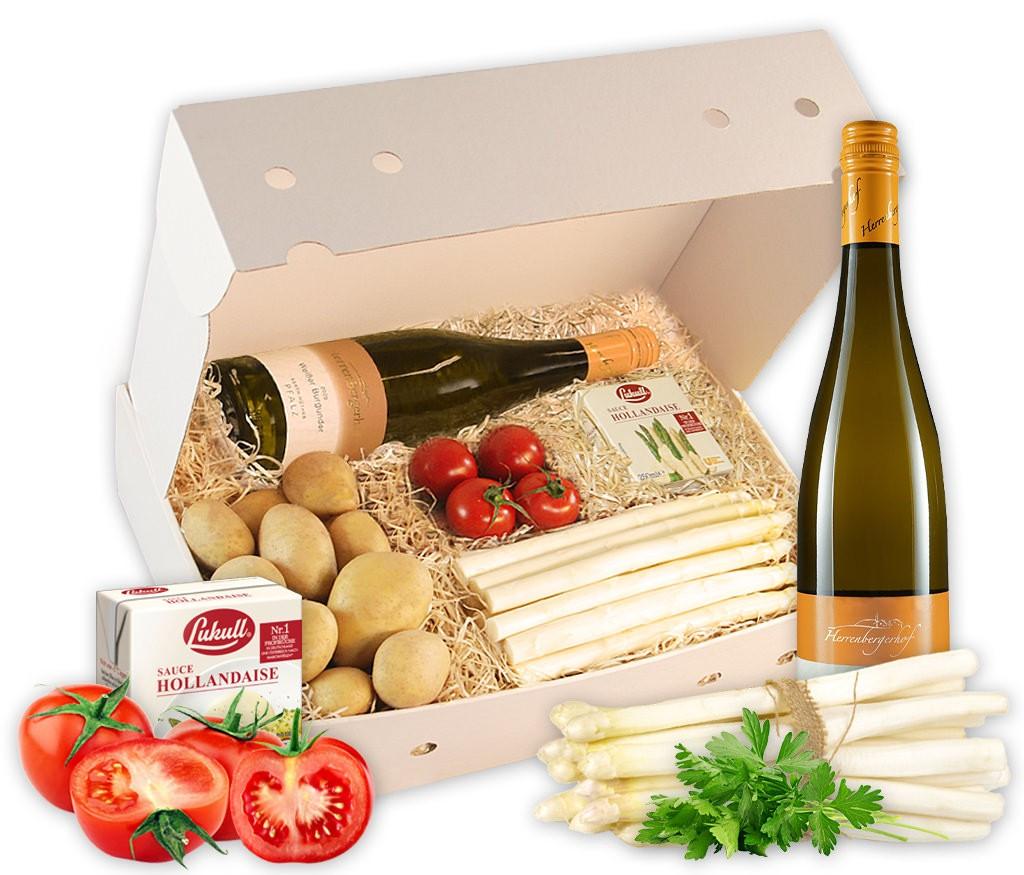 Rezeptbox Spargelwelt mit leckerem Spargel, frischen Kartoffeln und fruchtigem Wein
