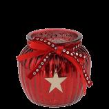 rotes Windlicht (aus Glas, 10 cm hoch)