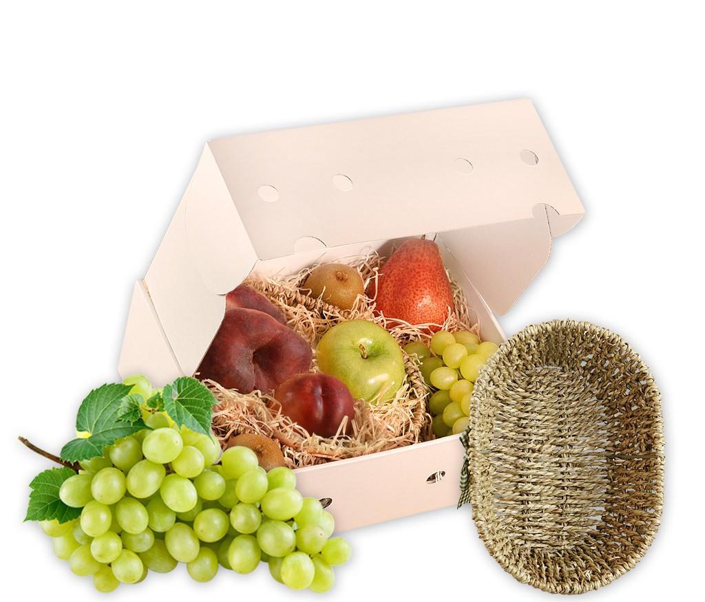 Obstkorb oval mit Schleife als ideales Geschenk mit frischen Früchten und einem ovalen Obstkorb mit Schleife