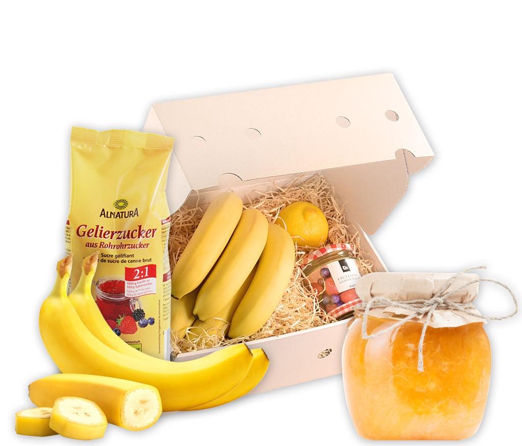 Rezeptbox Bananen-Marmelade mit allen Zutaten für eine leckere Marmelade inklusive Glas und Rezept