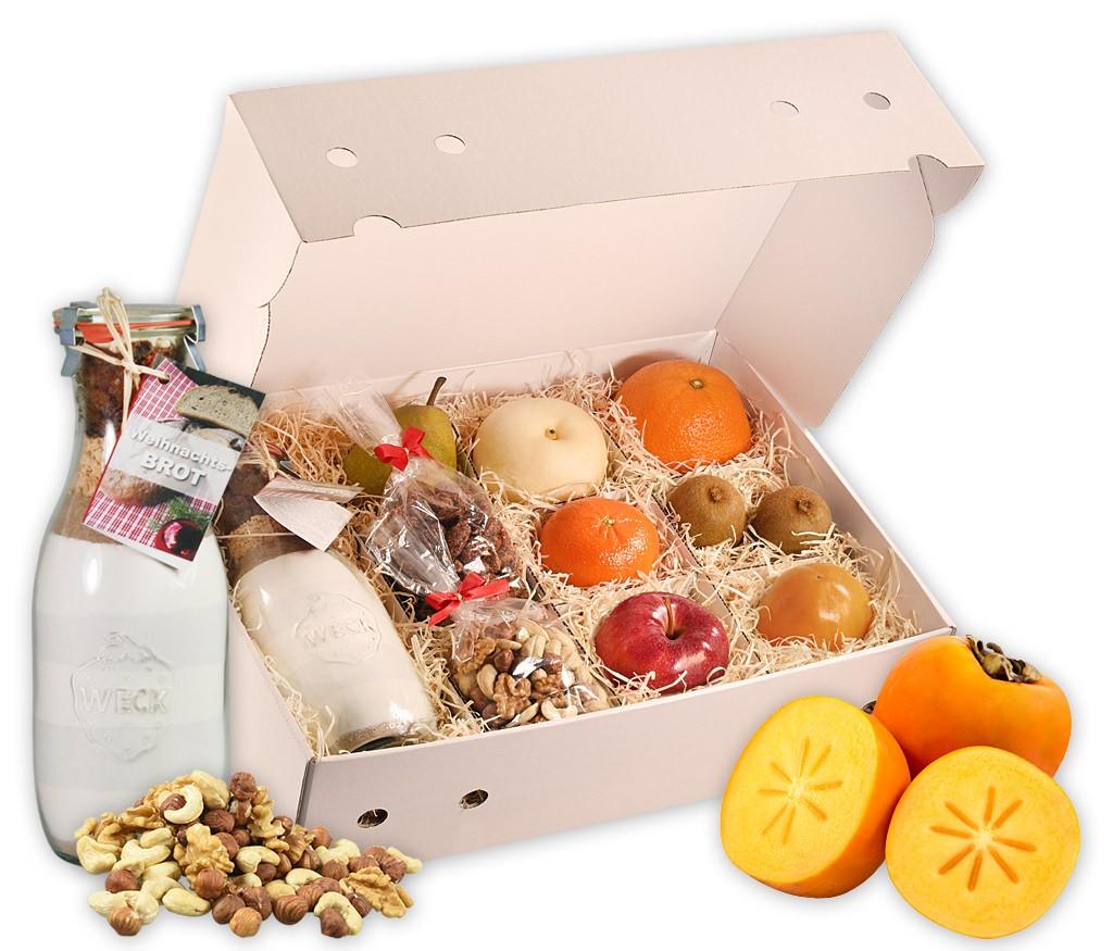 """Obstbox Weihnachtsbrot mit frischem Obst, gesunden Nusskernen, gebrannten Mandeln und einer Brot-Backmischung """"Weihnachtsbrot"""""""