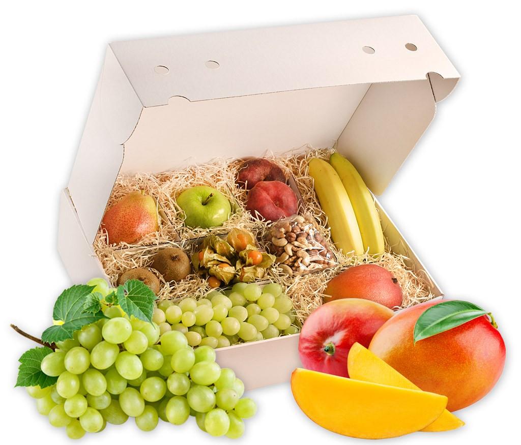 Obstbox Wellness, frische Früchte und gesunde Nusskerne für Wellness zu Hause