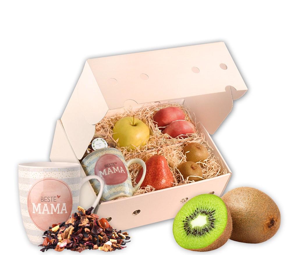 Obstbox Mama ist die Beste mit leckeren Früchten, einer Mama-ist-die-Beste-Tasse und aromatischem Früchtetee in einer dekorativen Geschenkbox
