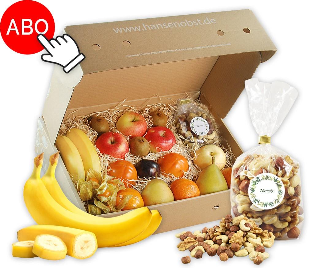 Business-Abo-Obstbox für regelmäßig frisches Obst und Nüssen oder Trockenobst am Arbeitsplatz und für gesunde Pausen zwischendurch