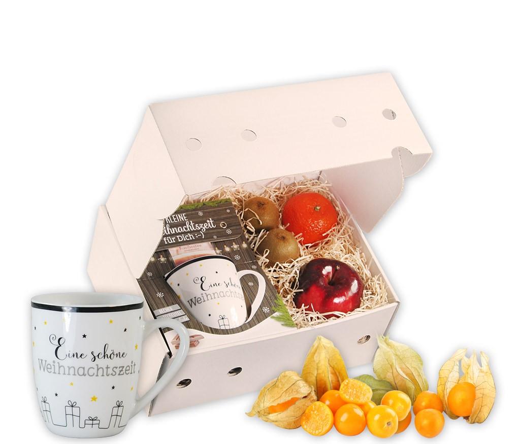 Obstbox Eine schöne Weihnachtszeit mit frischem Obst, einer weihnachtlichen Tasse mit süßer Schkolade und Rooibostee