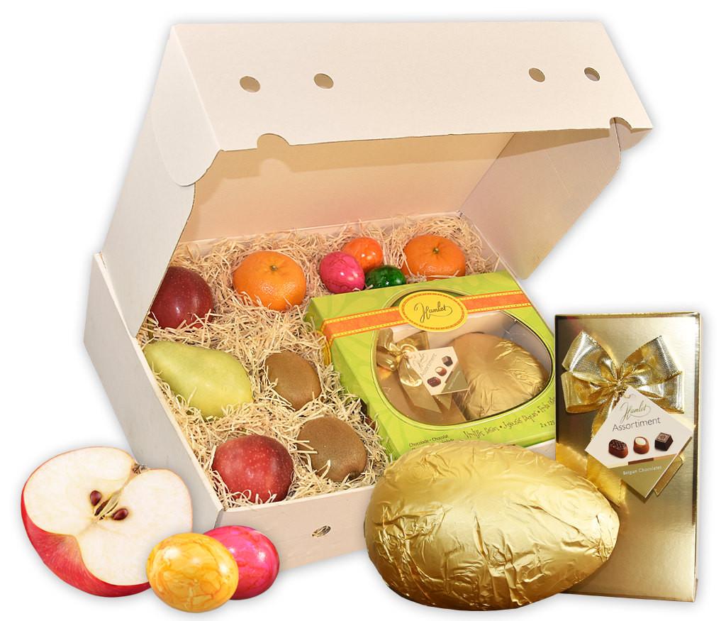 Obstbox Goldene Ostern mit belgischen Pralinen und Schokolade, bunten Ostereiern und frischem Obst