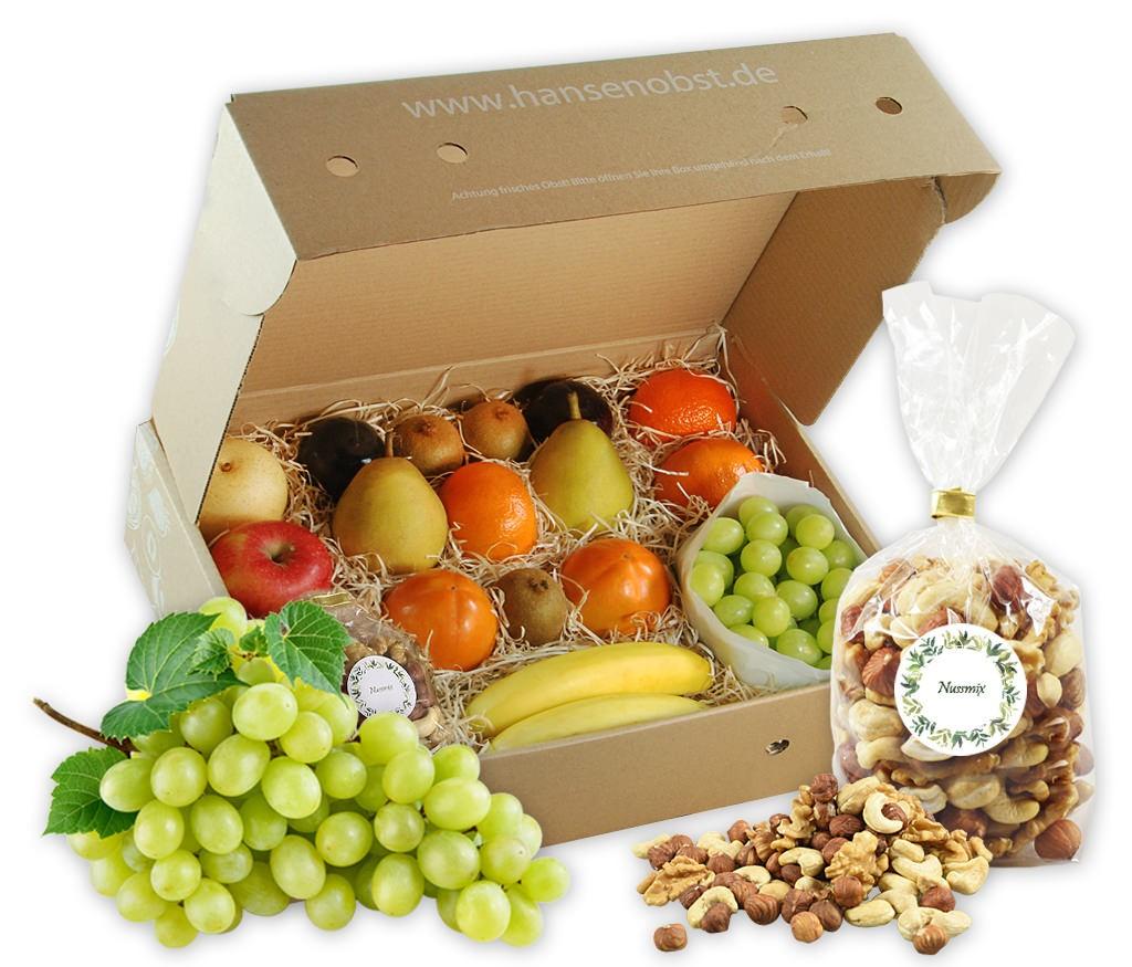 Business-Probier-Obstbox für die gesunde Pause zwischendurch mit viel frischem Obst und Nüssen oder Trockenobst für den Arbeitsplatz