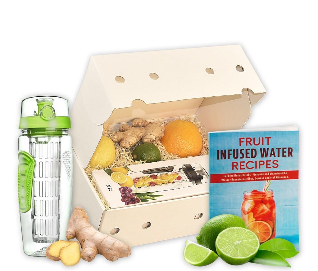 Obstbox Infused Water mit frischem Obst, Infused Water Flasche und Rezeptbuch in einer Geschenkbox
