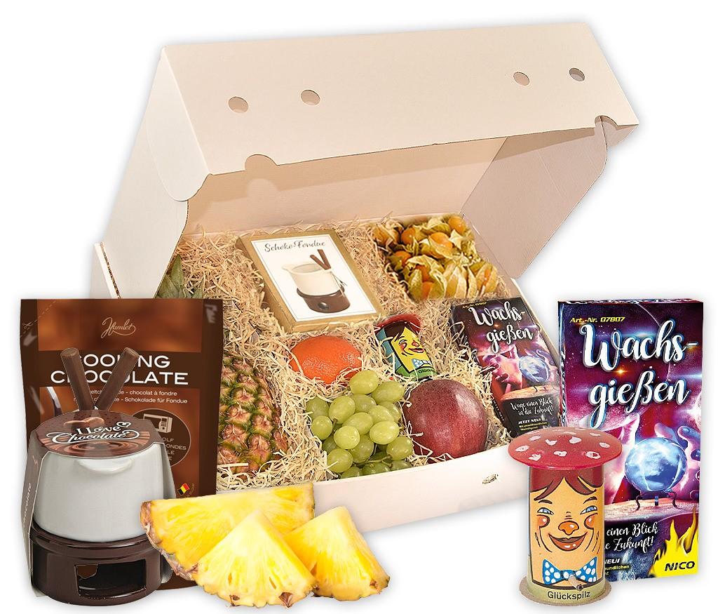 Geschenkbox mit Schoko-Fondue-Set, frischem Obst, Wachsgießen, Tischfeuerwerk und Glückskäfer