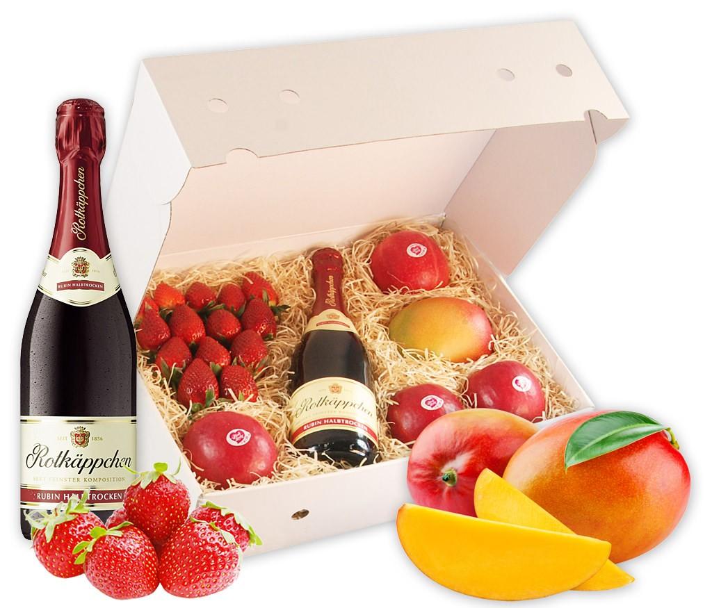 Obstbox Happy Valentine mit faserfreier Flugmango, Erdbeeren, knackigen Pink Lady Äpfeln und prickelendem Rotkäppchen Sekt