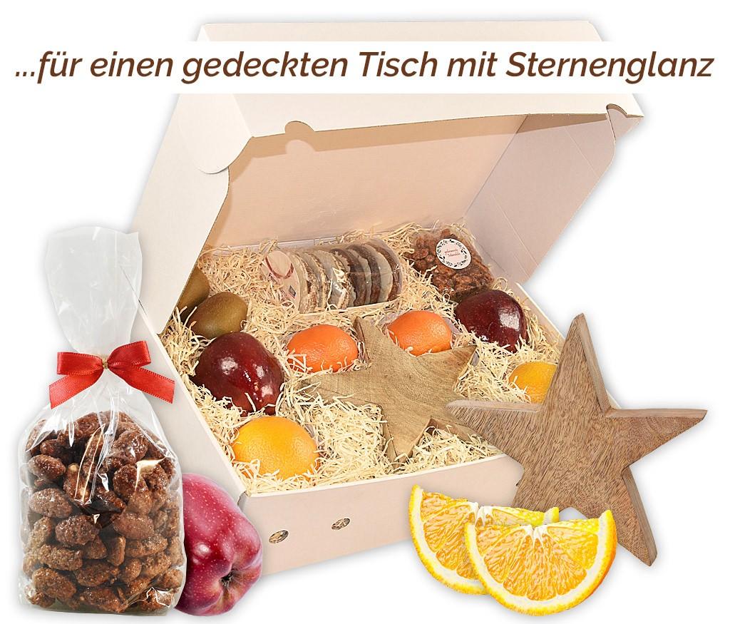 Obstbox Großer Weihnachtsstern mit zwei Holzsternen und frischen Früchten