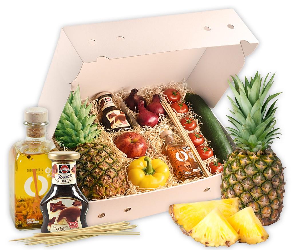 Grillbox Grillschmankerl, knackiges Gemüse, feines Kräuteröl, frische Früchte und leckere Schokosauce