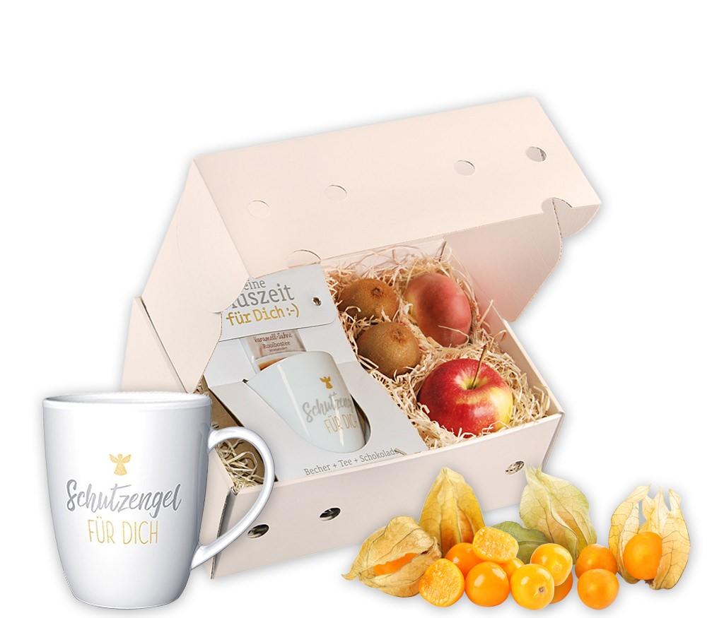Obstbox Schutzengel mit frischem Obst, einer Tasse, Schokolade und aromatischem Rooibostee in einer Geschenkbox