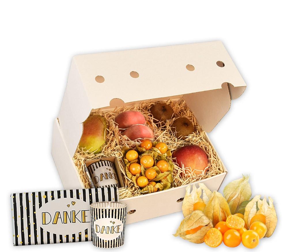 Obstbox Herzliches Dankeschön mit frischen Früchten, Spruchtasse, Tee und Schokoldade in einer dekorativen Geschenkbox, um Danke zu sagen