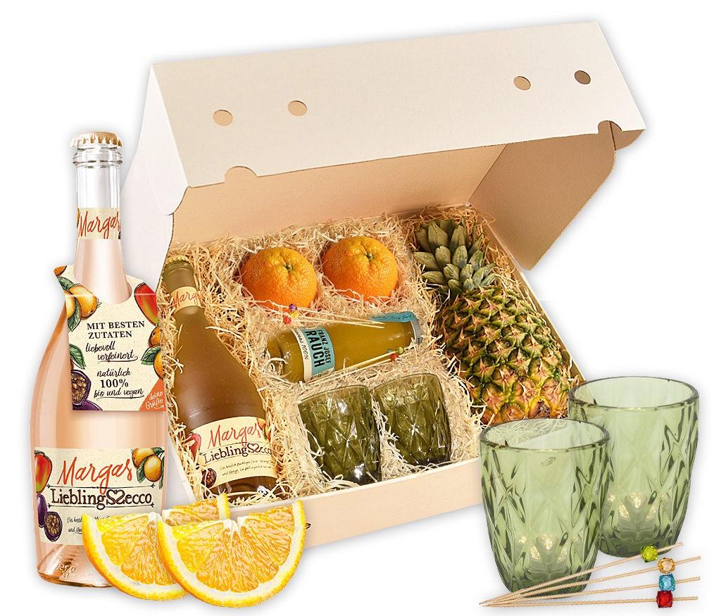 Geschenkbox Bowle mit Früchten, Gläsern, Spießen, Saft und Secco