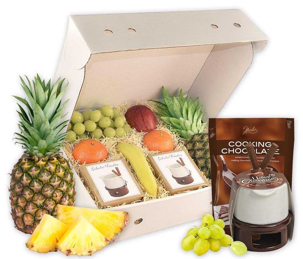 Obstbox Schokoladenfondue mit leckeren Früchten und Schokoladen-Fondue mit Stövchen, Gabeln und Zartbitterchips