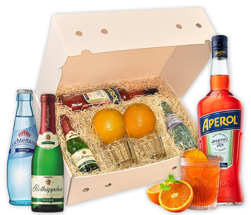Cocktailbox Aperol Spritz mit allen Zutaten für den klassischen Cocktail als Hit für die nächste Party