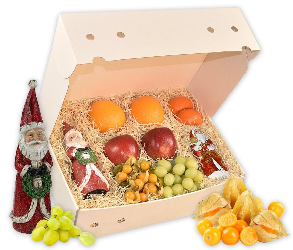 Obstbox Weihnachtsmann mit dekorativer Weihnachtsmannfigur, Lebkuchen und frischem Obst
