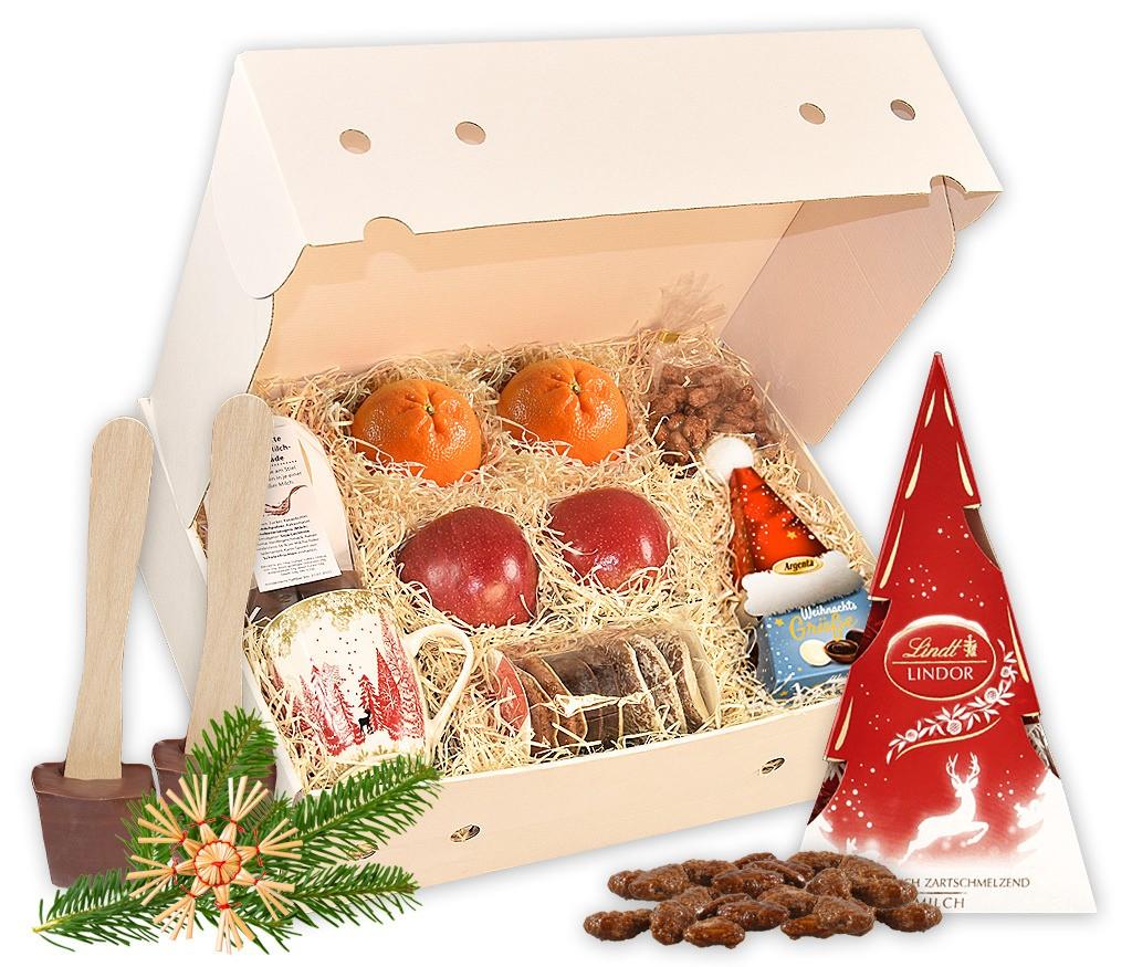 Obstbox Weihnachtsfeier mal anders mit frischem Obst, Lebkuchen, gebrannten Mandeln, BIO Glühwein, Lindt Weihnachtsmann und frischem Tannenzweig mit weihnachtlichem Filzanhänger