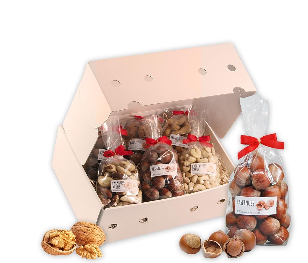 """Obstbox Nusskerne mit Walnüssen, Haselnüssen, Pecanüssen, Erdnüsse, Cashewnusskernen und Paranusskernen, wahleise mit Vollmetall-Nussknacker """"Elch"""""""