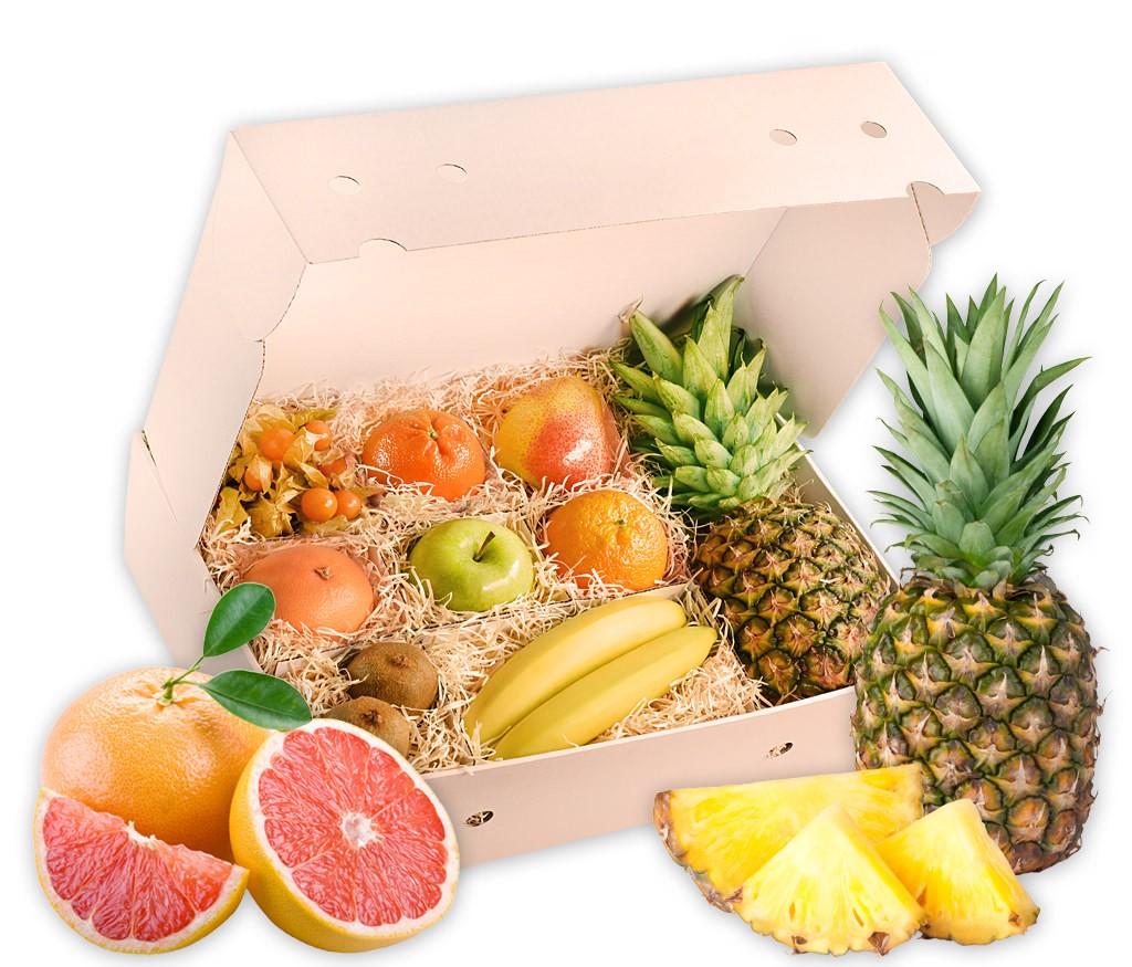 Obstbox Wintergruß, leckere Früchte liebevoll in einer Geschenkbox verpackt