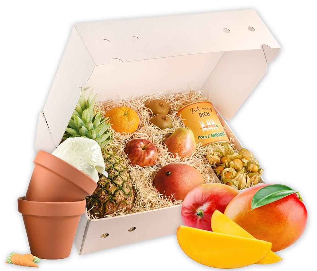 Obstbox Ich mag dich mit frischem Obst und einer Backmischung in der Dose schön verpackt in einer hübschen Geschenkbox