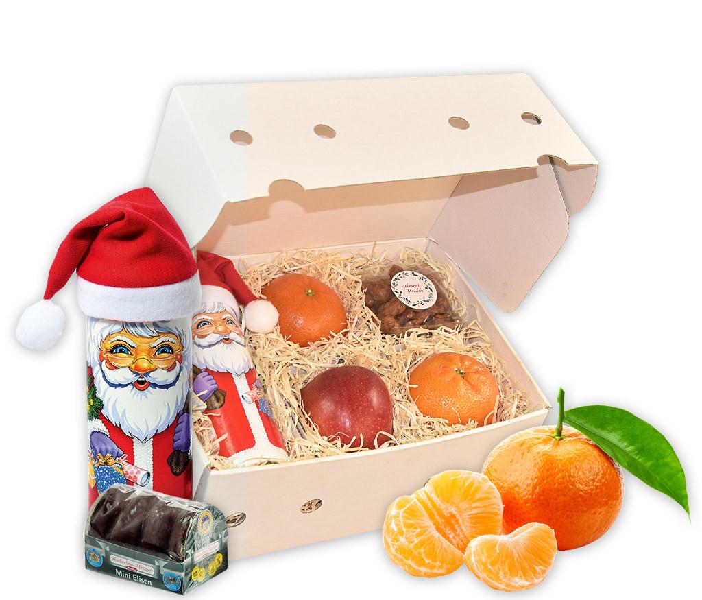 Obstbox mit Elisen-Lebkuchen, gebrannten Mandeln und frischem Obst